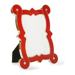 Enamel Curve Frame, Red - Frame your holiday photo in a bright red frame.