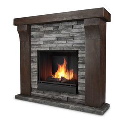 Avondale Gray Ledge stone Gel Fuel Firebox & Mantel - The Avondale Mantel features stunningly realistic barn wood and stacked ledge stone texture, creating a beautiful built-in look to compliment any room. Real Flames Cast Mantels are crafted from a light weight, fiber-enforced concrete and backed with an internal steel frame for an enduring presence. For safety, this unit must be anchored to a wall using the included hardware. The hand-painted log set and bright crackling flame add to the realistic look of this Real Flame Gel Fuel Fireplace. Uses 3-13 oz. cans of Real Flame Gel Fuel.