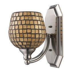 Elk Lighting - Elk 570-1C-GLD 1-Light Vanity In Polished Chrome and Gold Mosaic Glass -1C-GLD - Elk products are highly detailed and meticulously finished by some of the best craftsmen in the business.