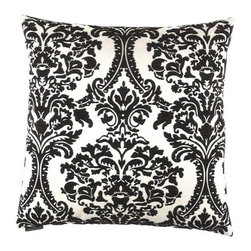 """Canaan - 24"""" x 24"""" Linetta White and Black Damask Pattern Throw Pillow - Linetta white and black damask pattern throw pillow with a feather/down insert and zippered removable cover. These pillows feature a zippered removable 24"""" x 24"""" cover with a feather/down insert. Measures 24"""" x 24"""". These are custom made in the U.S.A and take 4-6 weeks lead time for production."""