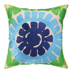"Trina Turk - Trina Turk La Jolla Blue Pillow - A chunky sunburst pattern enlivens Trina Turk's square La Jolla throw pillow. Its bright geometric pattern lends texture and color to modern interiors. 20""W x 20""H; 100% linen; Embroidered in deep violet, aqua blue, lime and grass green; Includes 95/5 feather down insert; Hidden zipper closure; Dry clean only"