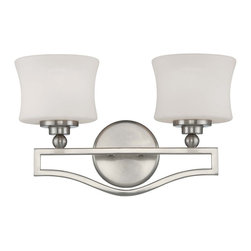 Savoy House - Terrell 2 Light Bath Bar - Terrell is a striking group from Savoy House with updated styling and bold geometric lines. The Satin Nickel finish gleams against the crisp White Etched Glass creating fresh elegance for today's sophisticated decor.