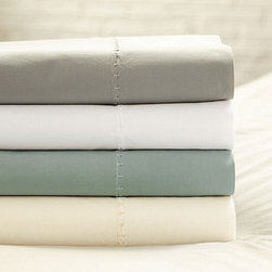 Ballard Designs - Washed Percale Flat Sheet - Made in Italy of 100% cotton percale. Machine wash warm. Use only non-chlorine bleach. Swatches available. Made in Italy from ultra-soft 100% cotton percale, our Casa Florentina Flat Sheets are finished with fine Etrusco stitching on top and bottom, so you can enjoy the details when the bed is turned down. The understated, neutral colors were carefully selected to blend with the hand finishes of our Casa Florentina furniture for a sophisticated European look. The more you wash them and sleep in them, the softer these luxurious linens become. Washed Cotton Percale Flat Sheet features: . . . . *Monogramming available for an additional charge.*Allow 3 to 5 days for monogramming plus shipping time.*Please note that personalized items are non-returnable