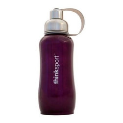 Thinksport - Thinksport Stainless Steel Sports Bottle - Purple - 25 Oz - Built to fit your active lifestyle, thinksport Stainless Steel Insulated Sports Bottles provide an alternative to bottles containing Bisphenol-A (BPA). thinksport Stainless Steel Insulated Sports Bottles are built tough and super insulated to keep the contents cold or hot for hours. This insulated bottle is double-walled and vacuum-sealed stainless steel construction. When you fill your insulated bottle you won't feel the temperature of the contents; now you won't ever have to grab a blazing hot bottle or a freezing cold one either. You can fill our bottle with ice, your favorite drink and enjoy a cold drink without the bottle sweating all over your gym bag, backpack, or desk. thinksport bottles elegant design features a wide mouth opening (for ease of filling and cleaning) and a smaller polypropylene spout (for convenient drinking). thinksport bottles also feature a removable interior mesh filter that keeps ice from blocking the drinking spout and allows users to conveniently brew loose leaf tea on the go or make campfire coffee. The thinksport insulated bottle is a high-quality insulated sport bottle for about the same price as the other guys  basic single-walled bottles. thinksport bottles are made of 18/8 medical-grade 304 stainless steel and do not have any type of potential harmful liner. thinksport products address the growing concern of toxic chemicals leaching from consumer products. All thinksport products are free of bisphenol-A (BPA), lead, PVC, phthalates, melamine, nitrosamines, and biologically toxic chemicals. How do you care for my thinksport bottle? thinksport recommends hand washing your bottles, however bottles are dishwasher safe, be sure to remove the cap and strap first. thinksport Stainless Steel Insulated Sports Bottles are great for the beach, tailgating, bicycling, camping, gym, and for keeping your drinks hot or cold at the office. Size: 25 oz, Color: Purple
