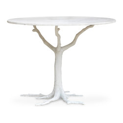 Kathy Kuo Home - Bijou Global Bazaar White Tree Branch Iron Marble Petite Dining Table - Rooted in natural beauty, the legs of this piece evoke limbs of a white tree, rising to support a stunning, circular tabletop. Polished white adds a contemporary touch to the classic lines of this dining table that comfortably seats four to six guests.
