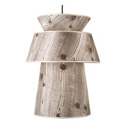 Louie Pendant Lamp, Light Faux Bois on Silk Shade