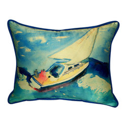Betsy Drake - Betsy Drake Sailboat Pillow- Indoor/Outdoor - Sailboat Pillow- Large indoor/outdoor pillow. These versatile pillows are equal at enhancing your homes seaside decor and adding coastal charm to an outdoor setting arrangment. They feature printed outdoor, fade resistant fabric for years of wear and enjoyment. Solid back, polyfill. Proudly made in the USA.