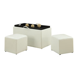Convenience Concepts - Convenience Concepts Ottoman X-W210341 - Loads of storage space with seating.  Remove the top to reveal 2 side ottmans. Turn the top over to find built in hardwood serving tray with cut out handles.