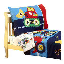 Crown Crafts Infant Products - Under Construction Toddler Bedding Set Bulldozer Bed - FEATURES: