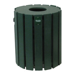 Eagle One - 20 Gallon Cylinder Trash Receptacle - T171BLK - Shop for Trash Receptacles from Hayneedle.com! The 20-Gallon Cylinder Trash Receptacle features a weatherproof design with recycled plastic slats affixed to a powder-coated zinc-dipped steel frame. Inside a durable 20-gallon plastic liner bucket removes easily for dumping. A lightweight lid conceals odors and trash to maintain the appearance of your environment. This receptacle can sit directly on the ground or can be mounted on a spike base or golf-ball-washer base for ground protection.Plastic lumber is recycled high-density polyethylene (HDPE) and sometimes other additives such as fiberglass extruded into common lumber profiles. HDPE is a very durable plastic making recycled plastic lumber a positive alternative to wood in external environments. The uses as with wood are endless. It is particularly advantageous in areas where exposure to the elements is frequent or high abrasion is likely. This recycled plastic deck box is available in several color options.Benefits of recycled plastic over wood:Virtually maintenance-freeImpervious to insectsWill not crack or splitResistant to graffiti and stainsDoes not contaminate ground or soilHigh abrasion resistanceSplinter-freeImpervious to marine borersColor-impregnated no painting requiredNo harmful chemicalsAbout Eagle One Pool FurnitureEagle One Products has been designing and manufacturing environmentally friendly durable and aesthetic products for use on golf courses resorts hotels and restaurants for over 12 years. Built to last in some of the harshest areas and weather conditions - intense sunlight rain snow and chemicals Eagle One furniture looks new season after season. Recognized as the leader in introducing recycled plastic lumber products into the golf industry Eagle One has many years' experience in designing and manufacturing recycled plastic products and continue to lead the way in design durability and style while at the same time protecting the en