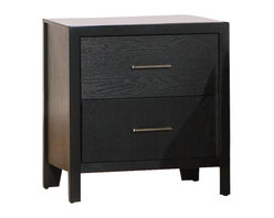 Coaster - Coaster Grove 2 Drawer Nightstand in Black Finish - Coaster - Nightstands - 201652 - You can quit stacking miscellaneous items on your bedroom floor with the Grove Night Stand's functional drawer storage space. A small frame gives the night stand a modest but functional accent to your Grove Collection bed. With two drawers and usable top this night stand is the perfect bedside storage solution with a fashionable face and simple silhouette. This small night stand makes a great bedside companion for reading glasses books lamps alarm clocks and your bedtime glass of water.