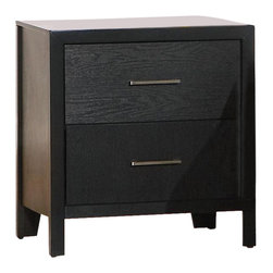 Coaster - Coaster Grove 2 Drawer Nightstand in Black Finish - Coaster - Nightstands - 201652 -You can quit stacking miscellaneous items on your bedroom floor with the Grove Night Stand's functional drawer storage space. A small frame gives the night stand a modest, but functional accent to your Grove Collection bed. With two drawers and usable top, this night stand is the perfect bedside storage solution with a fashionable face and simple silhouette. This small night stand makes a great bedside companion for reading glasses, books, lamps, alarm clocks, and your bedtime glass of water.