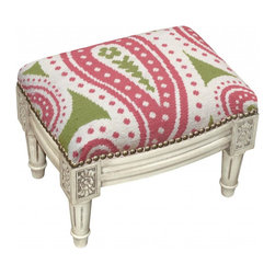 123 Creations - Paisley Wool Needlepoint Wooden Footstool. Antique white wash. - This hand-crafted footstool is upholstered with hand-needlepoint. An unique and  beautiful accent furniture piece. Solid wood frame is hand-carved with hand-applied brass nail heads.