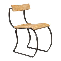 French Heritage - Emeric Curved Side Chair - This rustic little chair beckons with an appealing combination of natural wood and dark metal, its open structure a study in simplicity. -Weight 28lbs