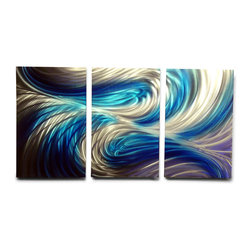 "Miles Shay - Metal Wall Art Decor Abstract Contemporary Modern Sculpture- Echo 3 Blues 47"" - This Abstract Metal Wall Art & Sculpture captures the interplay of the highlights and shadows and creates a new three dimensional sense of movement as your view it from different angles."