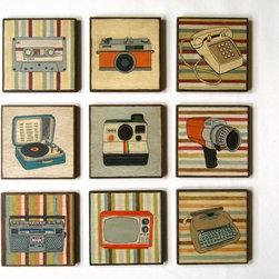 Lunartics Art & Vintage Studio - Vintage Electronics Art blocks Set of 9 Original Paintings for Wall Decor - Lunartics Art & Vintage Studio
