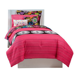 Pem America - Jackie Twist Peace and Thank You Full Bed Ensemble - Bright, fun flowers and peace signs make this reversible bed one not to miss. 1 Full size Comforter, 76x86 inches, 2 standard shams, 20x26 inches, 2 standard pillow cases, 20x30 inches, and a full size sheet set (fitted and flat). 100% hypoallergenic microfiber polyester face and fill. Machine washable.