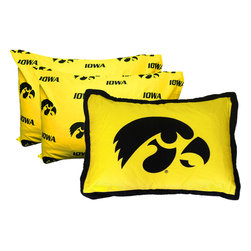 College Covers - NCAA Iowa Hawkeyes Pillowcase Set 3pc Yellow Bed Accessories - FEATURES: