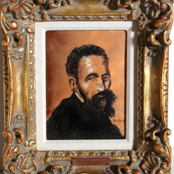 Max Karp, Portrait of Michelangelo, Enamel on Copper - Artist:  Max Karp, American (1916 - )