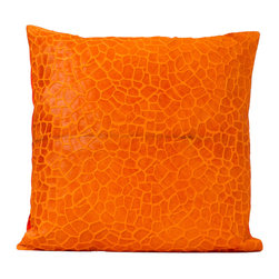 Fandindo - South American Hair-On Cowhide Giraffe Pillow (Insert not included) - This is a great accent piece made with old italian pressing techinology for a more striking sleek texture.