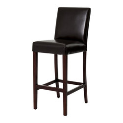 Marco Polo Imports - Avery Barstool-Java - Skillfully crafted bar stool with exotic leather cushions and a lavish java finish.