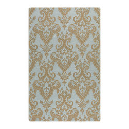 Uttermost - Uttermost Toulouse 5 x 8 Rug in Damask Pattern - Blue-gray wool in a loop pile accented with dark khaki damask pattern in a medium cut pile.