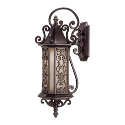 Forsyth Wall Mount Lantern - This Mediterranean style collection features an intricate six-sided geometric panel delicately placed over Tuscan glass with graceful scrollwork - all combining to perfect this die-cast collection. Como Black w/ Gold Finish. Weight: 14. 00 lbsFinish: Como Black w/ GoldBulb Wattage: 100Glass: TuscanNumber of Bulbs: 1Type of Bulb: EBulbs Included: NoSafety Rating: UL, CULUL Wet/Damp Location: UL Wet LocationVoltage: 120
