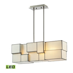 Elk Lighting - EL-72063-4-LED Cubist LED 4-Light Chandelier in Brushed Nickel - Cubes of tiffany glass are assembled into a structure of offsetting staggered cubes, creating an innovative textural expression. With hardware finished in brushed nickel, this series comes with a choice of white or limited edition dusk sky tiffany glass.