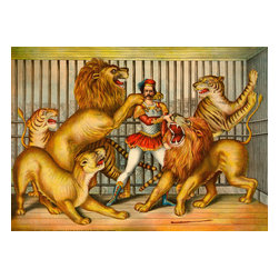 Lion Tamer Print - Lion Tamer. Created by Gibson & Company of Cincinnati, Ohio in 1873 as a chromolithograph. Summary: Lion tamer in cage with two lions, a lioness, and two tigers.