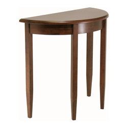 Winsomewood - Concord Half Moon Accent Table - This handsome half-moon accent table gets a nod towards space saving style. The glossy walnut finish and tapered legs match contemporary and traditional settings. Top it with a lamp and add this accent table to your foyer or hallway alcove.