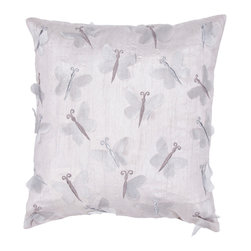 """Jaipur Rugs - Handmade Poly Dupione Gray (18""""x18"""") Pillow - Soft shades of neutral and dusty pastel are the cornerstone of this whimsical feminine range of pillows made from poly dupione . The collection features imagery of butterflies, florals,  and birds."""