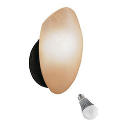 Kichler Lighting - Kichler 10-Inch Single-Light Sconce LED Bulb - 6521TZ/8W LED - This modest, single-light sconce features an oblong-shaped shade and circular tannery bronze-finished backplate. The umber glass shade has a warm tone that creates a fireside feel. This sconce suits any room where soft light is needed. Includes one 9.5-watt LED bulb based on a breakthrough and patented technology to last 6 times longer than compact fluorescent bulbs and 35 times longer than an incandescent. Features a medium base with white diffuser and vented heat sink. Takes (1) 9.5-watt LED A19 bulb(s). Bulb(s) included. Dry location rated.
