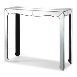 Vive Mirrored Console Table - This is a great option for a console table that does not have drawers, allowing for a more streamlined and elegant look.