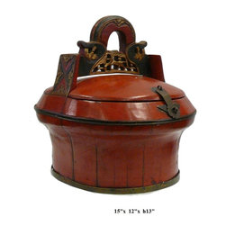 "Chinese Red Oval Wood Carving Handle Bucket - Dimensions: 15"" x 12"" x h13"""