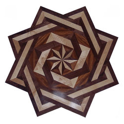 Psamathe 06 Double Square Hardwood Floor Medallion - Hardwood Floor Medallion Inlay Double Square Psmathe 06 Style.