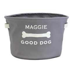 Ballard Designs - Monogrammed Good Dog Toy Storage - Good dogs know how to keep their toys neat and organized. This sturdy dog toy storage bin is made of rugged 100% recycled materials and can be monogrammed, so your pup knows who belongs to (assuming he or she can read). When it's not loaded with toys, the bin collapses for easy traveling.Dog Toy Storage Bin features:Wipe-able, water-resistant interior. Sewn-on handles for easy travel. Screen-printed on one side.
