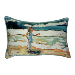Betsy Drake - Betsy Drake Girl at Beach Pillow- Indoor/Outdoor - Girl at the Beach Pillow- Large indoor/outdoor pillow. These versatile pillows are equal at enhancing your homes seaside decor and adding coastal charm to an outdoor setting arrangment. They feature printed outdoor, fade resistant fabric for years of wear and enjoyment. Solid back, polyfill. Proudly made in the USA.