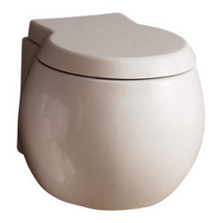 Scarabeo - Contemporary White Ceramic Wall Hung Toilet - White ceramic wall mounted toilet for contemporary bathrooms and classic style bathrooms alike.