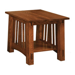 Chelsea Home - End Table with Shelf - Handcrafted heirloom quality furniture. Clean lines, ingenuity and impeccable. Carved pillars and horizontal details on the corners. Solid bottom shelf. Seating comfort: Medium. Long lasting and durable. Made from mortise and tenon solid wood quarter sawn oak joint. Michaels cherry finish. Made in USA. No assembly required. 24 in. W x 24 in. D x 24 in. H (75 lbs.)Chelsea Home Furniture proudly offers heirloom quality furniture, custom made for you. What makes heirloom quality furniture? Its knowing how to turn a house into a home. Its creating memories. Its ensuring the furniture you buy today will still be the same 100 years from now! Every piece of furniture in our collection is built by expert furniture artisans with a standard of superiority that is unmatched by mass-produced composite materials imported from Asia or produced domestically. Many pieces are signed by the craftsman that produces them, as these artisans are proud of the work they do! In addition, our craftsmen use tongue-in-groove construction, and screws instead of nails during assembly and dovetailing both painstaking techniques that are hard to come by in todays marketplace. And with a wide array of stains available, you can create an original piece of furniture that not only matches your living space, but your personality. So adorn your home with a piece of furniture that will be future history, an investment that will last a lifetime. Each table comes complete with a solid bottom shelf to store magazines, DVDs and other entertainment items.