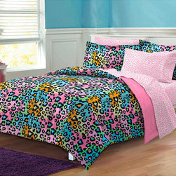 None - Neon Leopard 7-piece Bed in a Bag with Sheet Set - This Neon Leopard ultra-soft microfiber comforter set features a luxurious leopard print in blue, orange, pink, green and black. The comforter and sham reverse to a solid pink. Pink sheets feature a coordinating print.