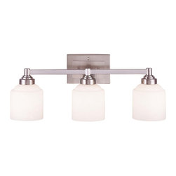 Savoy House - Savoy House Wilmont Bathroom Lighting Fixture in Pewter - Shown in picture: Streamlined in simple elegance - this full family of fixtures delights with contemporary distinction; etched opal white glass and Satin Nickel Finish