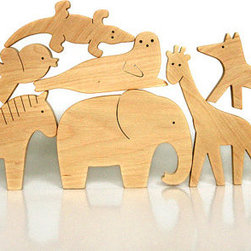 Organic Wooden Animal Toys by Miela Siela, Set of 4 - Every kid loves animals. These natural wood figurines would be great for play or display.
