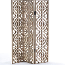 QUATREFOIL FLOOR SCREEN - NEW - On three well-crafted mango wood hinged panels, this screen has an unobstructed quatrefoil pattern with a natural finish. With light being easily accessible, this divider is perfect for your sunroom plants! Or simply use as an eye-catching textural wall installation (hardware not included).