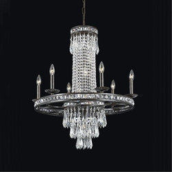 Crystorama - Crystorama-5266-Mercer - Six Light Chandelier - Our Mercer collection has all the angles covered. It is stunning no matter how you look at it. The metal work is as beautiful as the waterfall of crystal beads and faceted jewels that adorn it. From below, the metal forms a floral design, like something you might see in a stained glass window.