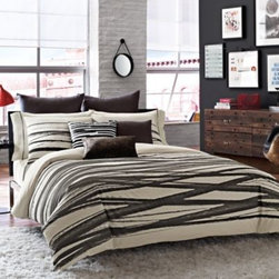 Kenneth Cole Reaction Home - Kenneth Cole Reaction Home Willow Duvet Cover - Transform your bedroom into a modern and sophisticated haven with the Willow duvet cover by Kenneth Cole Reaction Home. It features bold, criss-crossing strokes of black on a crème color jacquard ground that combine for a chic presentation.