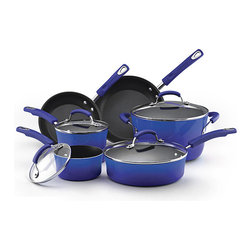 Rachael Ray - Rachael Ray II Blue Porcelain Enamel Nonstick 10-piece Cookware Set - Stylish two-tone gradient exterior adds color and style to any kitchen. Plus,this cookware heats quickly and evenly,reducing hot spots that can burn foods.