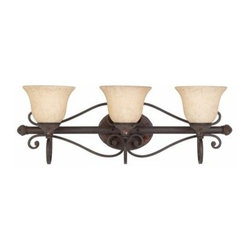 """Triarch International - Triarch International 25692 29"""" Wide Wrought Iron 3 Light Reversible Bath Fixtur - 3 light reversible wall fixture featuring hand laid mosaic glass on the backplateRequires 3-100w Medium Base Bulbs (Not Included)Fixture may be mounted up or downFeatures Taupe Etched Shades"""