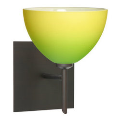 Besa Lighting - Besa Lighting 1SW-4679GY-SQ Brella 1 Light Halogen Bathroom Sconce - Brella has a classical bell shape that complements aesthetic, while also built for optimal illumination. Our Green/Yellow Bicolor glass combines muted green and yellow tones onto a pressed glass. This glass is rich with colors that blend and fade into one another. The soft colors have a low key harmonious display that illuminates a warm mood. The smooth satin finish on the clear outer layer is a result of an extensive etching process. This handcrafted glass uses a process where every glass is consistently produced using a press mold, keeping variations to a minimum. The mini sconce is equipped with a decorative lamp holder mounted to either a low profile round or square canopy.Features: