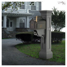 Contemporary  Whitehall Mailbox Plus Mayne Mailbox Post - Liberty Mailbox Package in Granite