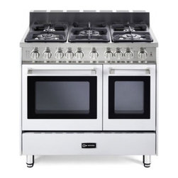 """Verona - VEFSGG365DW 36"""" Freestanding Double Oven Gas Range with 5 Sealed Burners  2.4 cu - 36 Double Oven Gas Range 5 Sealed Gas Burners 24 cu ft Oven Capacity Storage Drawer Electronic Ignition 2 Turbo-Electric Convection Fans"""